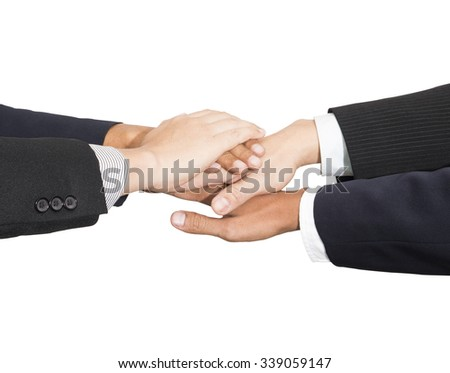 Business team join their hand together on isolated background (Teamwork concept) - stock photo
