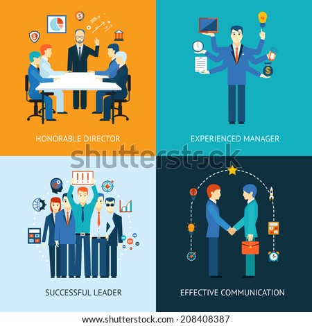 Business team leader banners with a management meeting - Honorable Director  a multitasking man - Experienced Manager  business team - Successful Leader  handshake - Effective Communication - stock photo
