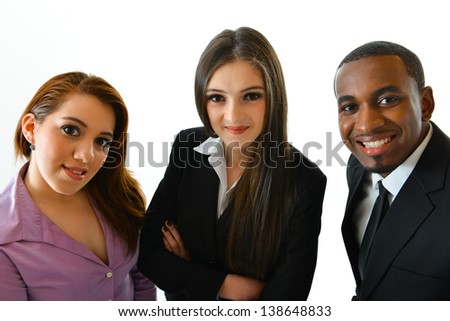 Business Team Looking Up - stock photo