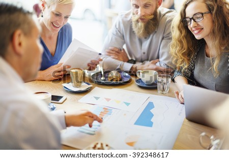 Business Team Meeting Strategy Marketing Cafe Concept - stock photo