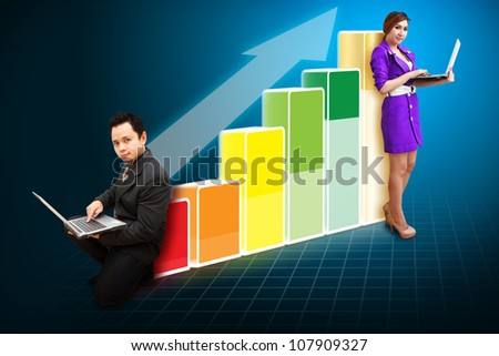 Business team on the Big Graph - stock photo