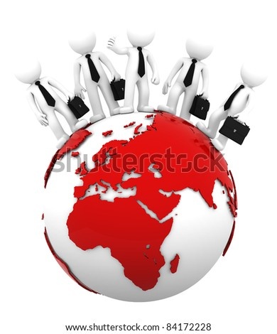 Business team on top of the globe. European and African side. Conceptual business illustration. Isolated - stock photo