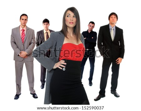Business team over white background - stock photo