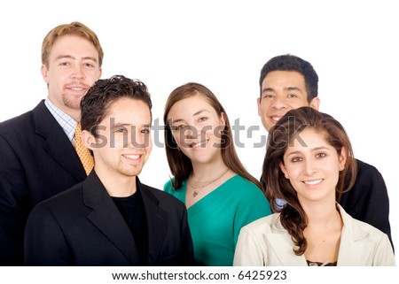 business team portrait all looking like very young entrepreneurs and leaders in the industry - isolated over a white background - stock photo