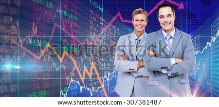 Business team standing arms crossed against stocks and shares Business team standing arms crossed against a white screen - stock photo