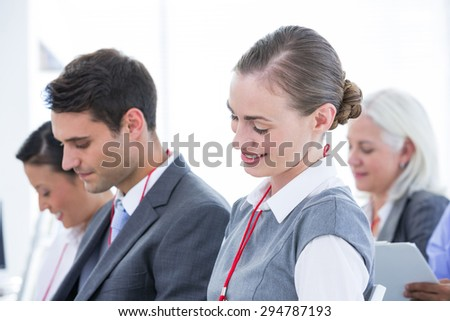 business team take a note during a meeting in the office - stock photo