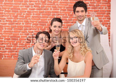 Business team toasting successful year - stock photo