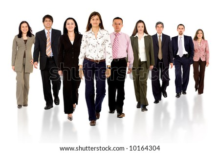 Business team walking forward - leadership and teamwork concepts using a group of businessmen and businesswomen isolated over a white background - stock photo