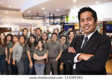 Business team welcome on office background - stock photo