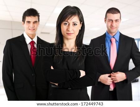 Business team welcoming you - stock photo