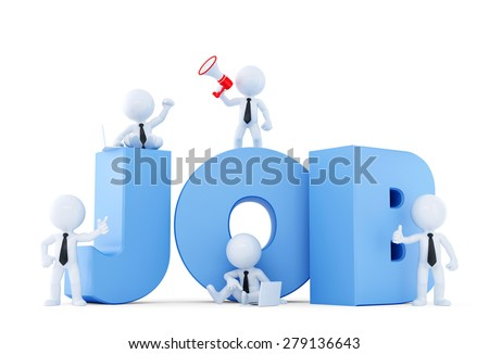 Business team with JOB sign. Job concept. Isolated on white. Contains clipping path. - stock photo