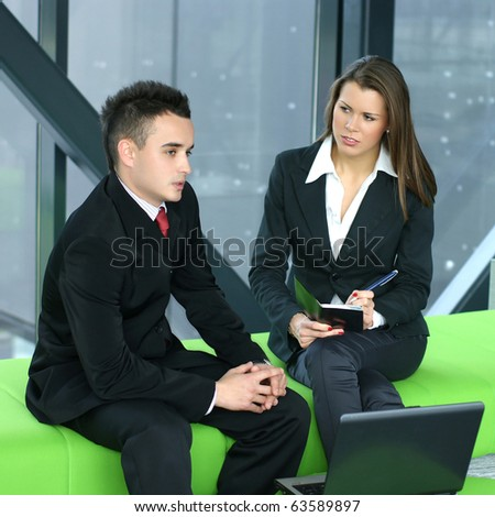 Business team working in modern office - stock photo