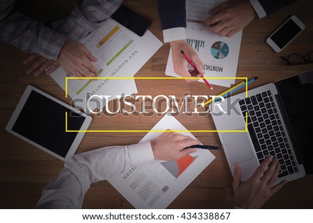 BUSINESS TEAM WORKING OFFICE  Customer TEAMWORK BRAINSTORMING CONCEPT - stock photo