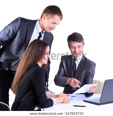 Business team working on their business project together on white background - stock photo