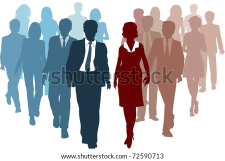 Business teams as competitors or joining resources in company merger as a team - stock photo