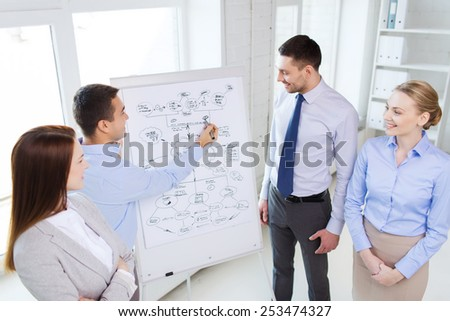 business, teamwork and people concept - smiling businessman and businesswoman in office - stock photo