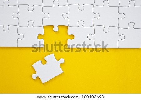 Business Teamwork Concept by Jigsaw Puzzle Pieces - stock photo