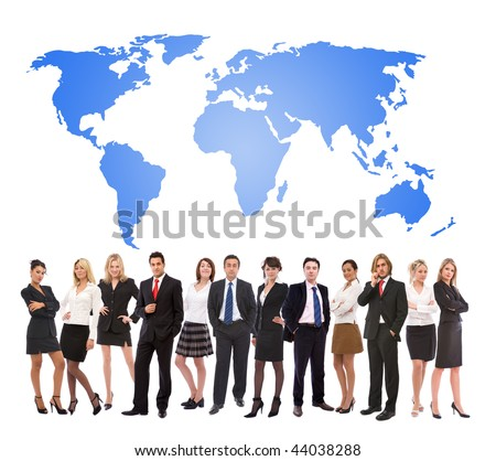 business teamwork concept with lots of business people and a world map design - stock photo