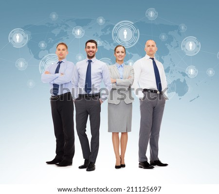business, teamwork, connection and people concept - group of smiling businessmen over world map and contact icons background - stock photo