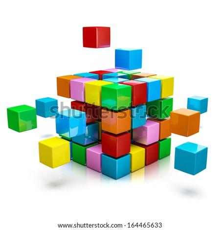 Business teamwork internet communication concept - colorful color cubes assembling into  cubic structure isolated on white with reflection - stock photo