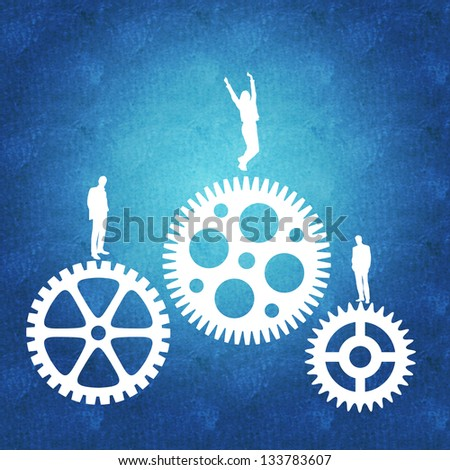 Business teamwork leading to success - stock photo