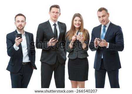 Business, technology and communication. Group of business people using smart phones. Isolated on white. - stock photo