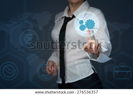business, technology and internet concept - business woman pressing forex button on virtual screens - stock photo