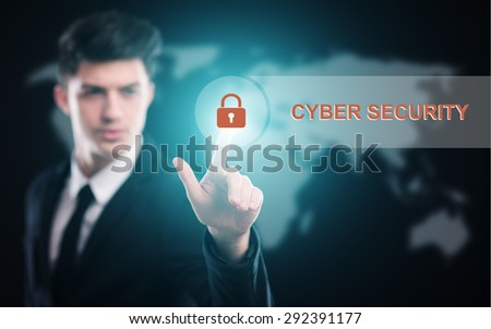 business, technology and internet concept - businessman pressing cyber security button on virtual screens - stock photo
