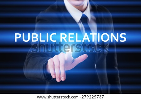 business, technology and internet concept - businessman pressing public relations button on virtual screens - stock photo