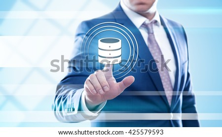 business, technology and internet concept - businessman pressing server button on virtual screens. Template for text. - stock photo