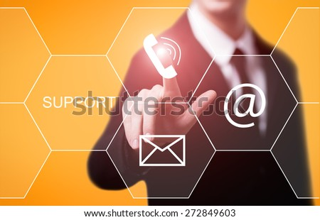 business, technology and internet concept - businessman pressing support button on virtual screens - stock photo