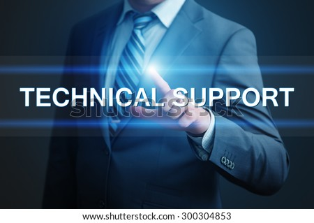 business, technology and internet concept - businessman pressing technical support button on virtual screens - stock photo