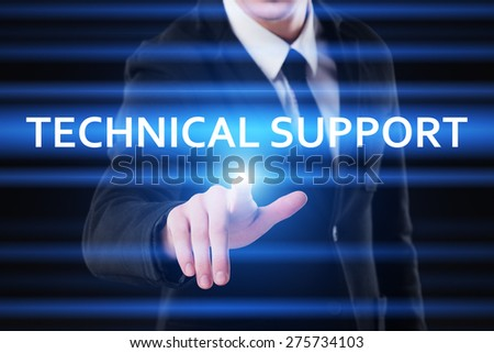 business, technology and internet concept - businessman pressing technical support on virtual screens - stock photo