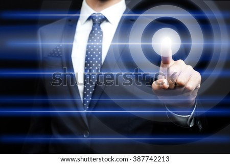 business, technology and internet concept - Businessman pressing virtual icons - stock photo