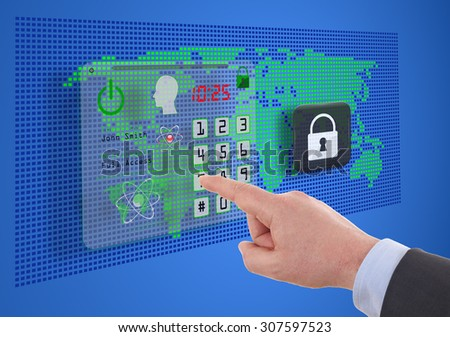 business, technology and internet concept -  cyber security on virtual screens - stock photo