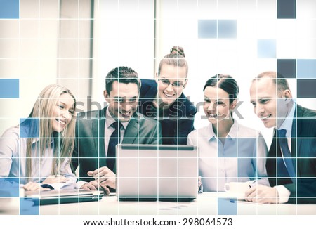 business, technology and people concept - smiling business team with laptop computers and coffee having video call or conferensc in office over squared grid background - stock photo