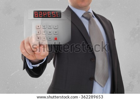 business, technology and security internet concept - businessman pressing button on virtual screens - stock photo