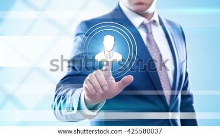 business, technology, human resources and internet concept - businessman pressing hr button on virtual screens. Template for text. - stock photo