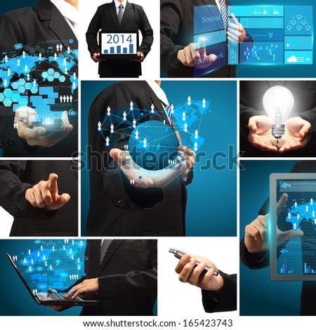 Business technology idea concept, Creative communication virtual networking information process diagram  modern design template  - stock photo