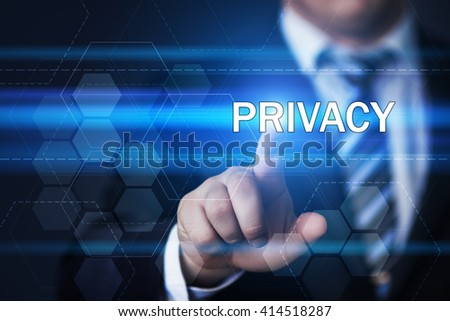 business, technology, internet and data privacy concept. Businessman pressing privacy button on virtual screens with hexagons and transparent honeycomb - stock photo