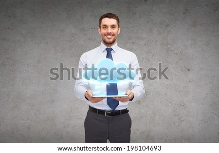 business, technology, internet and education concept - friendly young smiling businesswoman with tablet computer - stock photo