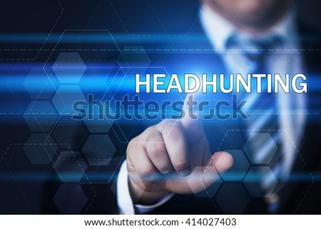 business, technology, internet and human resources concept. Businessman pressing headhunting button on virtual screens with hexagons and transparent honeycomb - stock photo