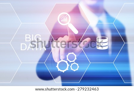 business, technology, internet and networking concept - businessman pressing big data button on virtual screens - stock photo