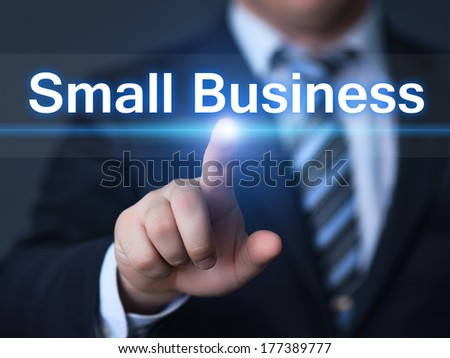 business, technology, internet and networking concept - businessman pressing button on virtual screens - stock photo