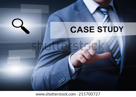 business, technology, internet and networking concept - businessman pressing case study button on virtual screens - stock photo