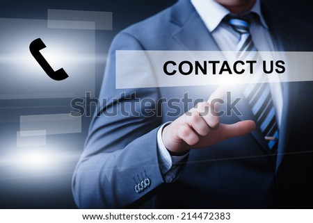 business, technology, internet and networking concept - businessman pressing contact us button on virtual screens - stock photo