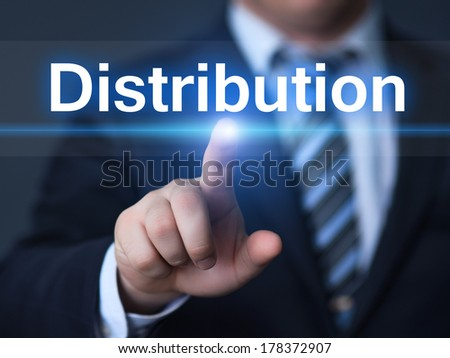 business, technology, internet and networking concept - businessman pressing distribution button on virtual screens - stock photo