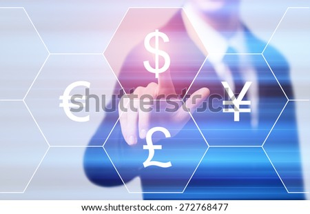 business, technology, internet and networking concept - businessman pressing dollar button on virtual screens - stock photo