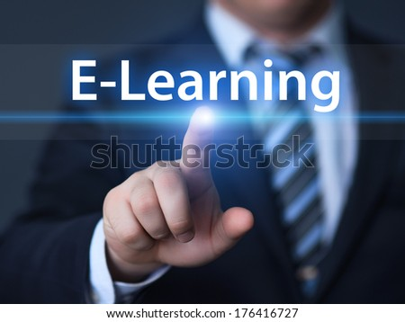 business, technology, internet and networking concept - businessman pressing e-learning button on virtual screens - stock photo