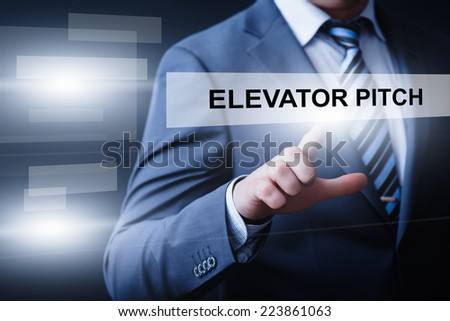 business, technology, internet and networking concept - businessman pressing elevator pitch button on virtual screens - stock photo